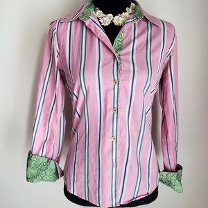 Robert Graham striped cotton button down size 4